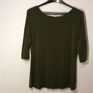 Soft 3/4 Sleeve Gibson Latimer Olive Green Top